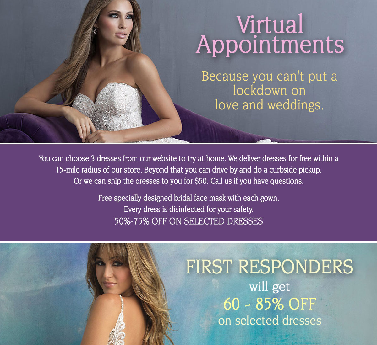 virtual appointments/covid-19 banner ad